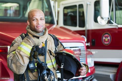 African American Fireman At Fire Station High-Res Stock ...