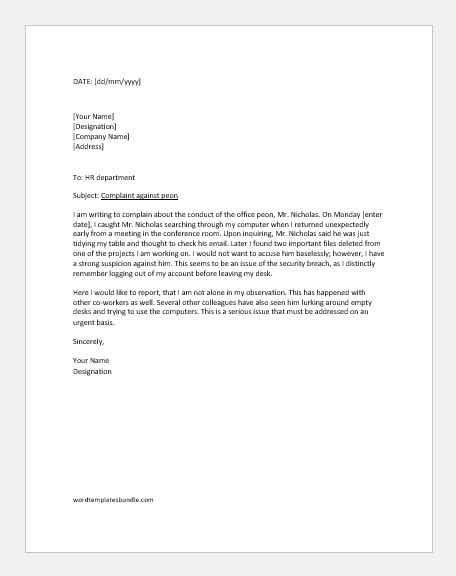 complaint letter  peon sample letters formal word