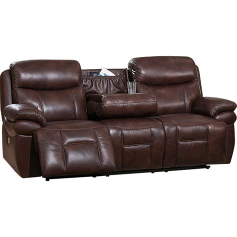 Darrin Leather Reclining Sofa With Console by Recliner Sofa With Console New Recliner Sofa With