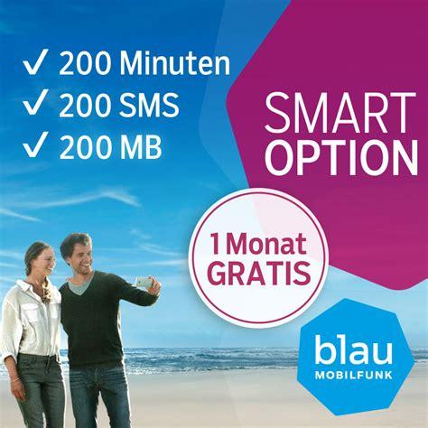 blau prepaid sim karte mit  monat smart option inklusive