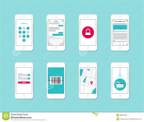 the state of the modern smartphone user interface tested smartphone application interface elements stock vector