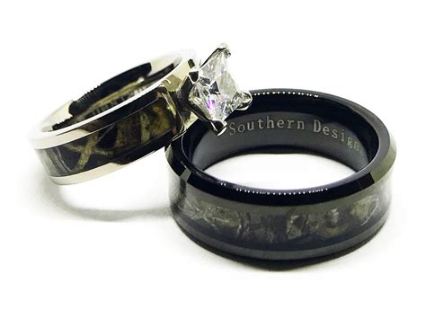 Black Camouflage Wedding Engagement Ring And Mens Camo Band
