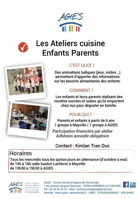 atelier cuisine parents enfants animations parents enfants ados agies