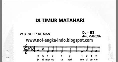 not pianika bangun pemuda pemudi not angka lagu di timur matahari not angka lagu indonesia