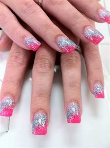 Nails by Yen..Hot pink and sky blue glitter acrylic nails ...