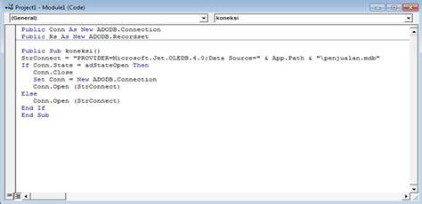 cara membuat module vb6 dengan data base acces