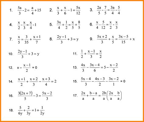 Solving Linear Equations With Fractional Coefficients Worksheet Tessshebaylo