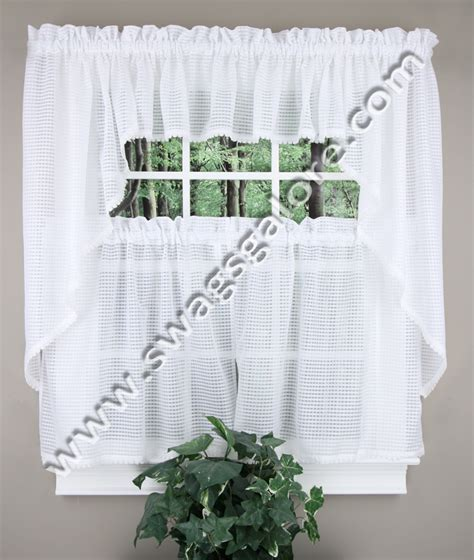 White Sheer Kitchen Curtains by Simplicity Curtains Lorraine Home Fashions Sheer