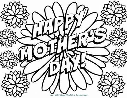 Happy Flowers Coloring Mother Pages Printable Printables