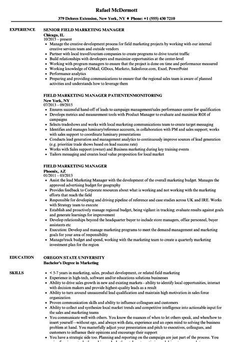 field marketing manager resume sles velvet
