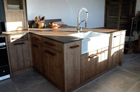 piano de cuisine lacanche cuisine atelier chêne clair bardage acier oxydé iron