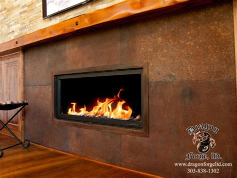 rusted steel plate fire surround dragon forge colorado