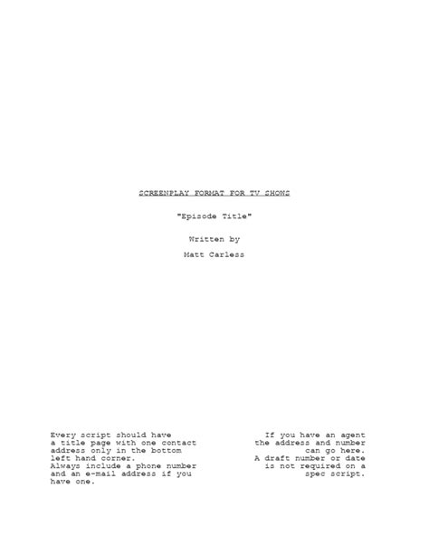 Tv Script Template For Pages by Screenplay Template For Tv Shows Free Download