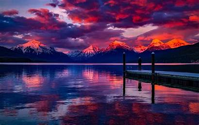 Montana Sunset Lake Mcdonald Pier America Landmarks