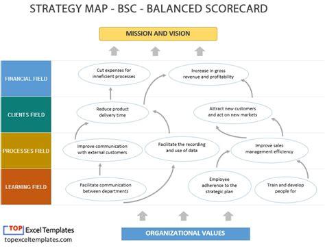 balanced scorecard bsc strategy map  template excel