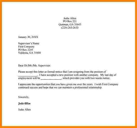 Exle Of Formal Letter Of Request by 7 Formal Resignation Letter Template Sales Slip Template