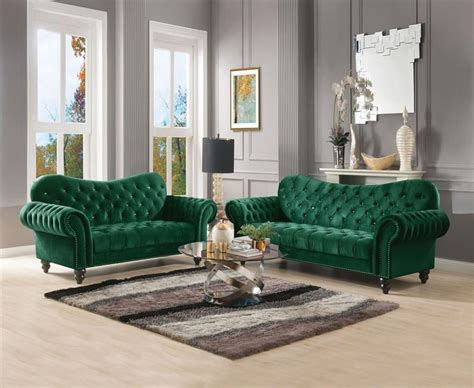 53400 Acme Iberis Green Sofa Set Collection