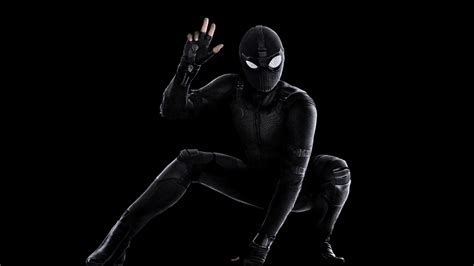 spider man   home black stealth suit  wallpapers