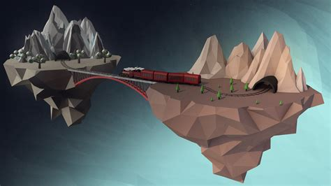 poly digital art cinema  island train floating