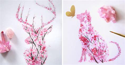 watercolor cherry blossom animals bored panda