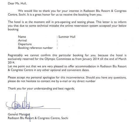 write letter cancel hotel reservation complaint