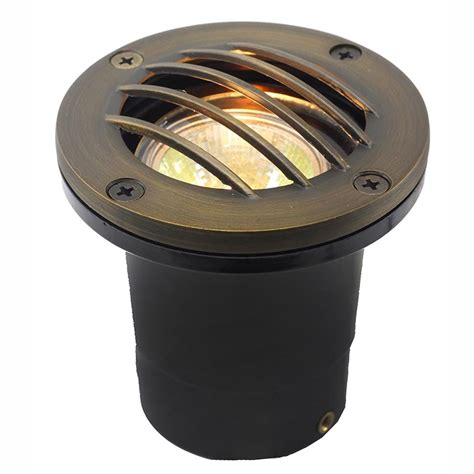 in ground led light fixtures led in ground well light w curved brass grill ledgc3b cg
