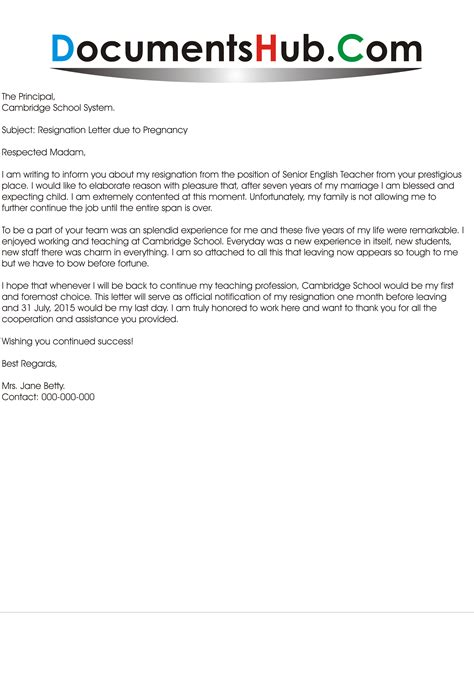 Resignation Letter Due To Pregnancy Documentshubcom