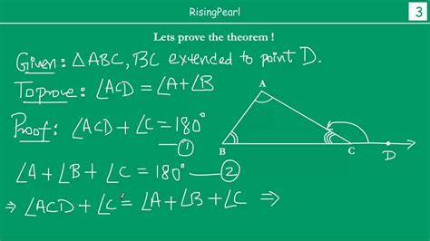 exterior angle equals sum   interior  angles