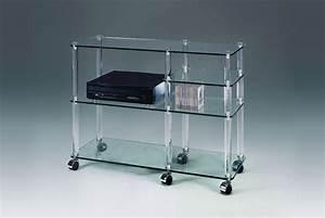 Bibliothèque Sur Roulette : meuble tele verre meuble chaine hifi bois maison boncolac ~ Teatrodelosmanantiales.com Idées de Décoration