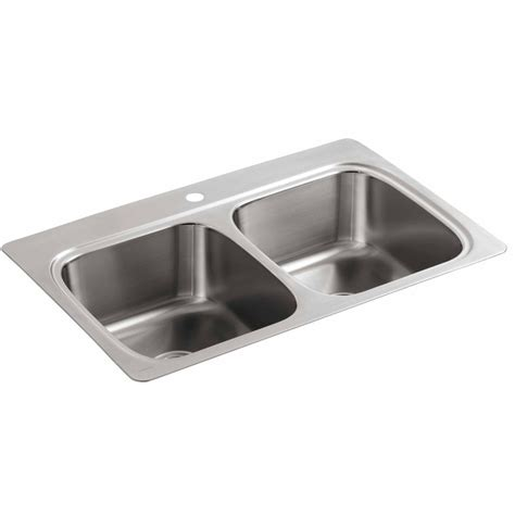 stainless steel kitchen sinks shop kohler 22 in x 33 in double basin stainless steel
