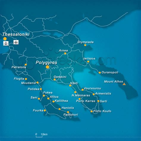 map  halkidiki greece greekacom