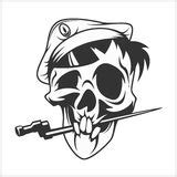 skull in beret with dagger stock vector illustration of icon 39416828