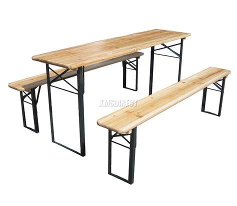 wooden folding table bench set trestle pub