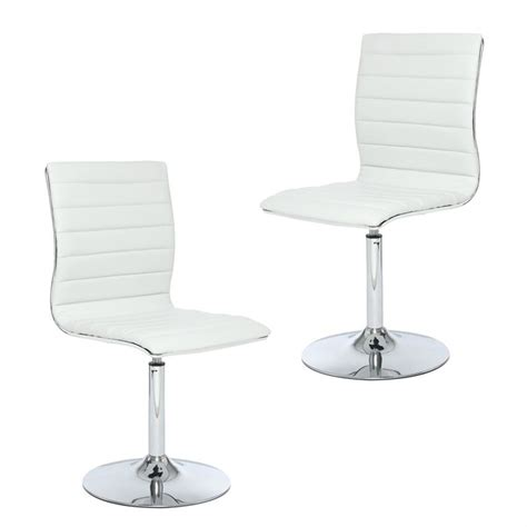 chaise de cuisine pivotante lot de 2 chaises timid blanches simili cuir achat