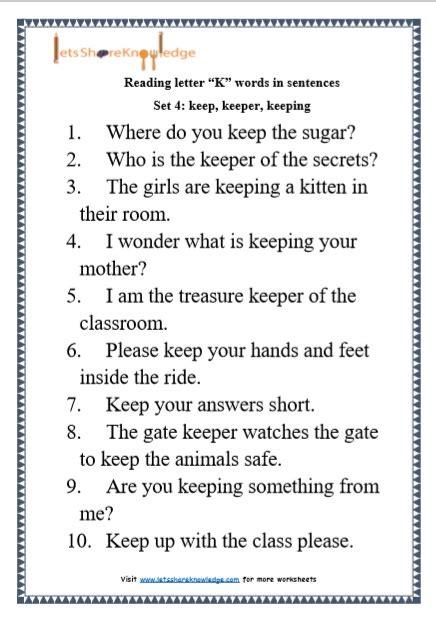 Letter Sentences by Kindergarten Reading Practice For Letter Quot K Quot Words In