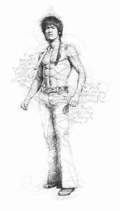 Bruce Lee Dragon Drawings Martial Arts Vince