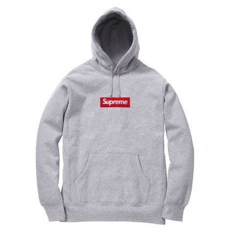 supreme clothing supreme box logo pullover hoodie gray
