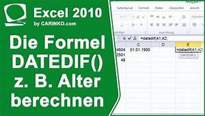 Excel Alter Berechnen Aus Geburtsdatum : excel die formel datedif datumsdifferenzen z b alter berechnen youtube ~ Themetempest.com Abrechnung