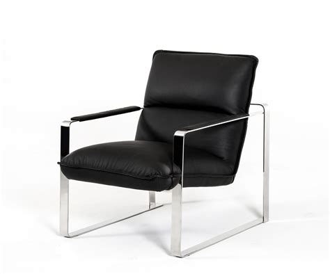 dunn modern black leather lounge chair
