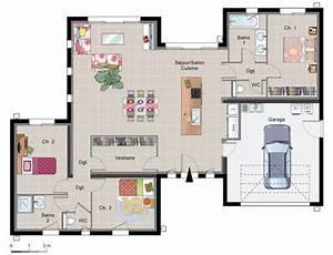 Faire Son Plan De Maison : maison contemporaine de plain pied plain pied maisons ~ Premium-room.com Idées de Décoration
