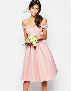 chi chi london midi prom dress with full skirt and bardot With robe encolure bardot