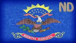 Linen flag of the US state of North Dakota   Stock Photo ...