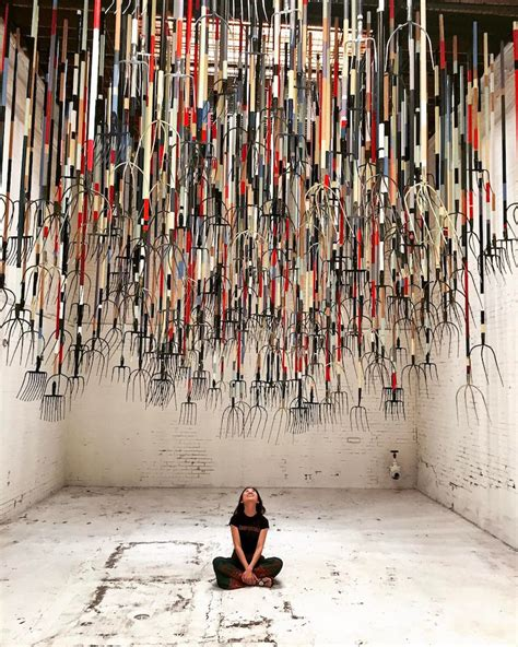 crusher  pitchfork installation  artist simon birch