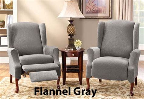 grey recliner slipcover box cushion wing chair cover in stretch pique