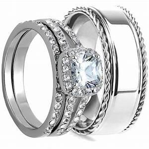 3pcs his hers wedding ring set matching band mens and With mens and womens matching wedding ring sets