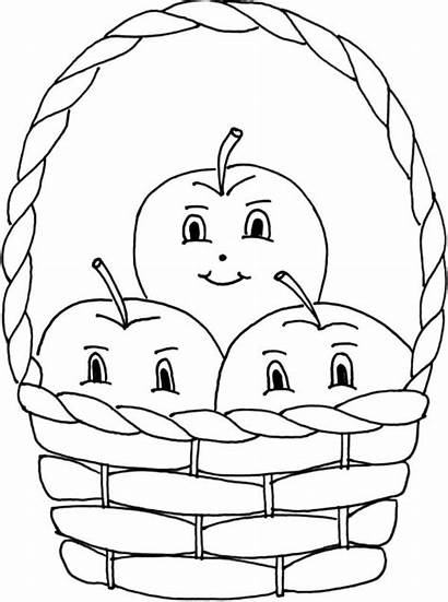 Basket Apple Coloring Pages Inside Three Smile
