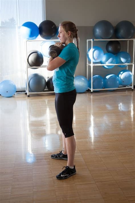 squat kettlebell double front proper steps exercise
