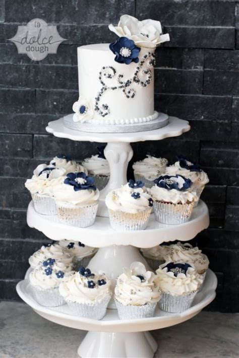 gorgeous navy  silver   sparkle wedding ideas