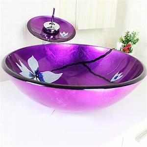 Waschbecken Glas Rund : sch nes f r bad modern waschbecken lila rund glas aufsatz waschschale mit wasserfall wasserhahn ~ Markanthonyermac.com Haus und Dekorationen