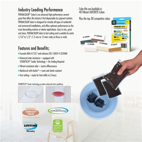 laticrete permacolor select advanced high performance grout color kit  pack
